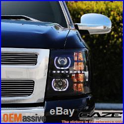 GAZE 07-13 Silverado GEN VI Halo Projector SMD DRL LED Headlights Headlamps