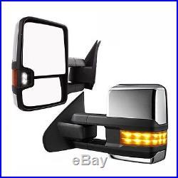 GM14-18 Silverado Sierra Chrome Power+Heated+LED Turn Signal Tow Side mirrors