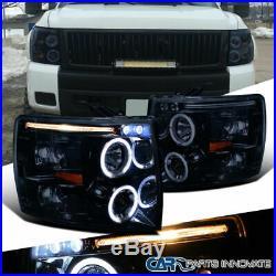 Glossy Black Chevy 07-14 Silverado 1500 2500 3500 LED Halo Projector Headlights
