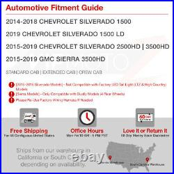 HIGH-POWER CREE BACKUP! Pair 14-18 Chevy Silverado Tinted Tail Lights Assembly