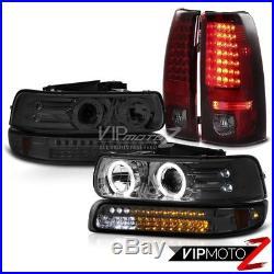 Halo Rim Headlights Smoke LED Turn Signal Bulb Tail Lamps 99-02 Silverado 2500HD