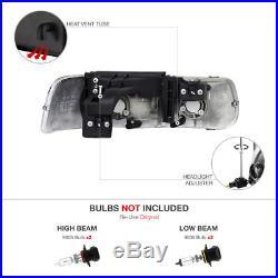 L+R Black Diamond Housing Headlight+Amber Bumper Lamp COMBO 99-2002 Silverado V8