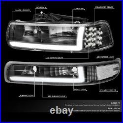 Led Drlfor 99-02 Chevy Silverado 4pcs Headlight Bumper Turn Signal Lamps Black