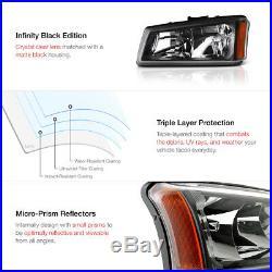 Left Right Headlights 03 04 Silverado Turn Signal Lamp Taillights Sinister Black