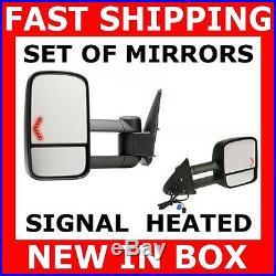 New Mirror 03-06 Silverado Sierra Truck Power Heated Turn Signal Tow Towing Set