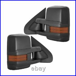 New Set of 2 Power Amber Turn Signal Tow Mirrors Black for Chevy Truck 2007-2013