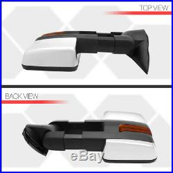 PairChrome Manual Telescoping LED Signal Towing Side Mirror for 03-07 Escalade