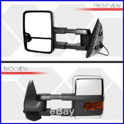 Pair Chrome Manual Extendable LED Signal Towing Mirror for 07-14 Sierra/Yukon