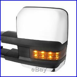 Pair Chrome Power+Heated Smoke LED Signal Towing Mirror for 14-18 Silverado