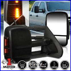 Pair Power+Heated Extendable withLED Signal Towing Side Mirror for 14-18 Sierra