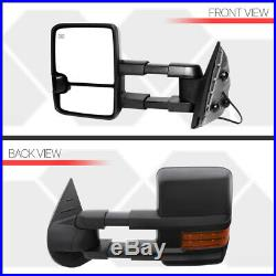 Pair Power+Heated LED Signal Extendable Towing Side Mirror for 07-14 Silverado