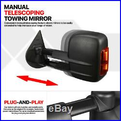 Pair Power+Heated LED Signal Towing Side Mirror for 07-14 Silverado/Suburban