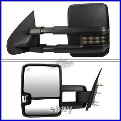 Powered Heated LED Smoked Turn Signal Towing Mirrors for Sierra Silverado 14-17
