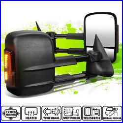 Powered Heated LED Smoked Turn Signal Towing Mirrors for Silverado Sierra 99-02