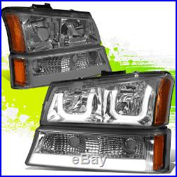SMOKED AMBER LED HALO HEADLIGHT WithLED DRL+TURN SIGNAL FOR 03-07 SILVERADO(L+R)