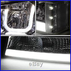 SMOKED CLEAR LED HALO HEADLIGHT WithLED DRL+TURN SIGNAL FOR 03-07 SILVERADO(L+R)