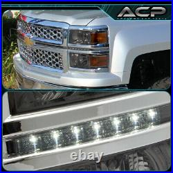 Smoke Amber DRL LED Projector Head Lights Lamps For 14-15 Chevy Silverado 1500