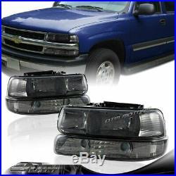 Smoke Headlights+Bumper Clear Reflector Lamps For 99-02 Silverado/Suburban/Tahoe
