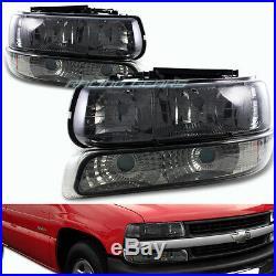 Smoke Lens Headlights+bumper Lamp Fit 99-02 Chevy Silverado 1500 2500 3500 4-pcs