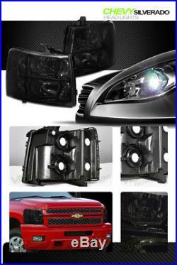 Smoke Tint Headlights Headlamps Parking Turn Signal Lamps NB 07-13 14 Silverado