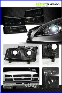 Smoke Tint Headlights+Parking Bumper Turn Signal Lamp Nb For 03-06 07 Silverado