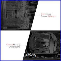 Smoke Tinted Headlight Clear Turn Signal Reflector for 07-13 Chevy Silverado