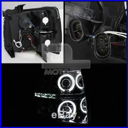 Smoked 2007-2013 Silverado CCFL Halo Projector Headlights +DRL LED Running Light