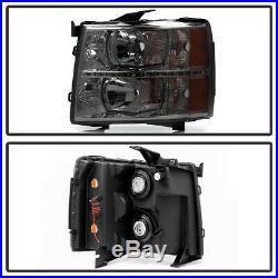 Smoked Lens 2007-2013 Chevy Silverado 1500 2500HD 3500HD LED Headlights Headlamp