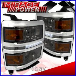 Smoked Lens DRL LED Projector Head Lights Signal Lamp For 14-15 Chevy Silverado