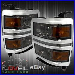 Smoked Projector Headlights Lamps LED DRL LH RH Assembly For 2014-2015 Silverado