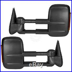 Tow Mirror Power Heated Amber Turn Signal Textured Black Pair for GM Pickup New