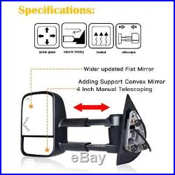 Tow Mirror Power Heated Turn Signal Pair Set for Silverado Sierra Cadillac 07-13