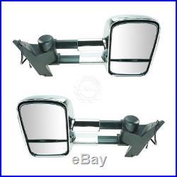 Towing Mirrors Chrome Manual Turn Signal Side View Pair Set for Silverado Sierra