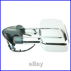 Towing Power Heated Turn Signal Side Mirrors Chrome Pair Set for Chevy GMC Truck