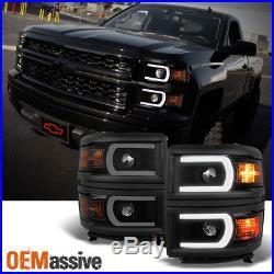U Neon Bar Black Smoke fit 2014-15 Silverado 1500 LED DRL Projector Headlights
