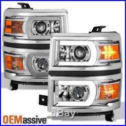 U Neon Bar Style 2014 2015 Chevy Silverado 1500 LED DRL Projector Headlights